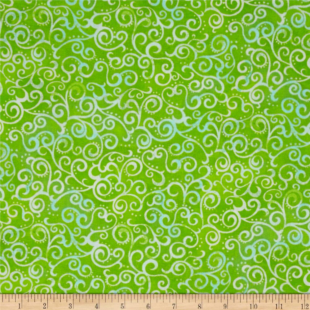 "Quilting Treasures 108"" Wide Quilt Back Ombre Scroll Lime"