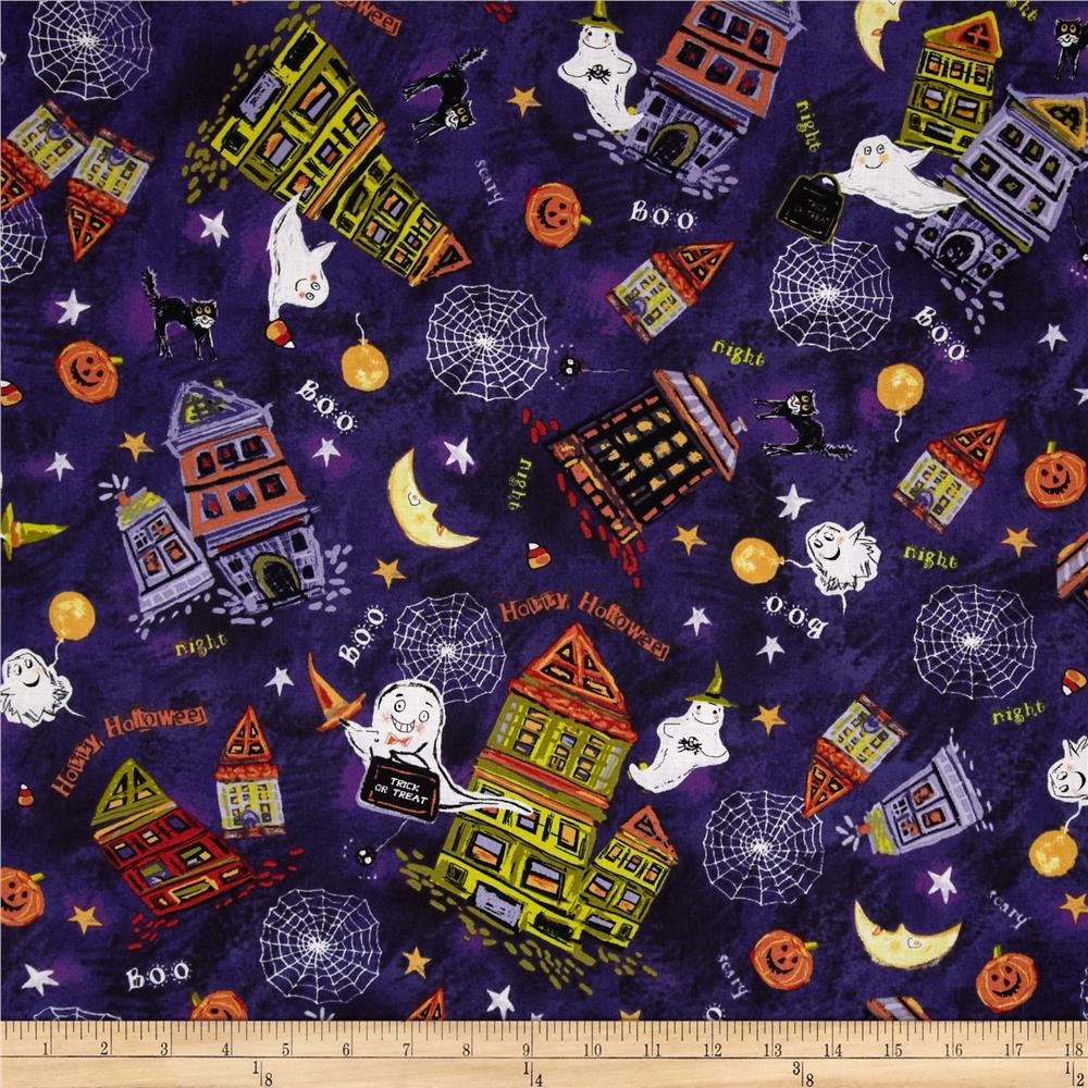 Trick or Treat Houses & Ghost Purple