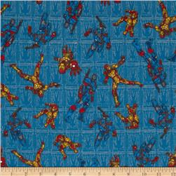 Marvel Comics Iron Man Flannel Iron Man Patriot Toss Blue
