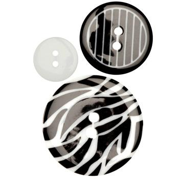 Fashion Buttons 5/8'', 1.00'', 1 3/8'' Coordinates Caged Zebra Black/White