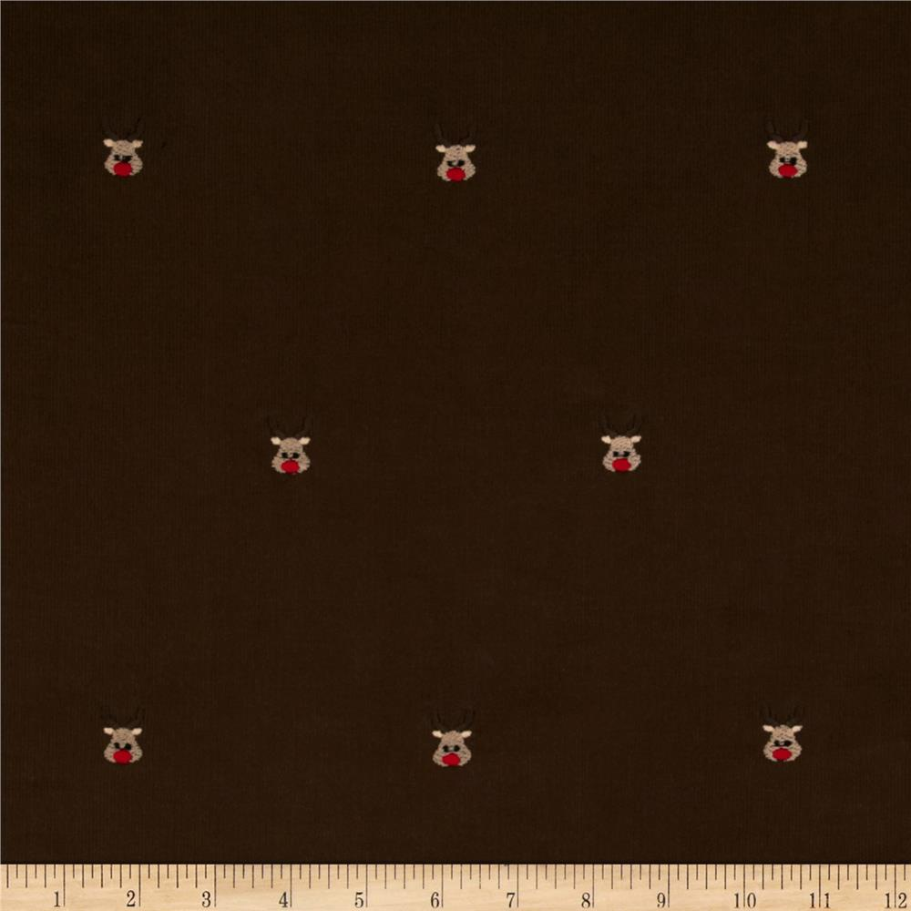 Embroidered 21 Wale Corduroy Reindeer Hazelnut Brown