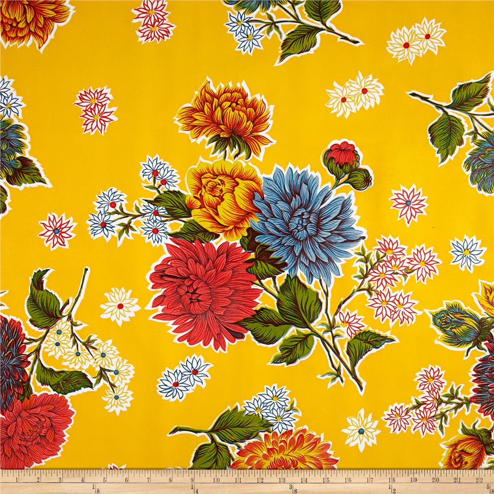 Oilcloth Mums Yellow Fabric