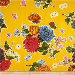 Oil Cloth Mums Yellow Fabric