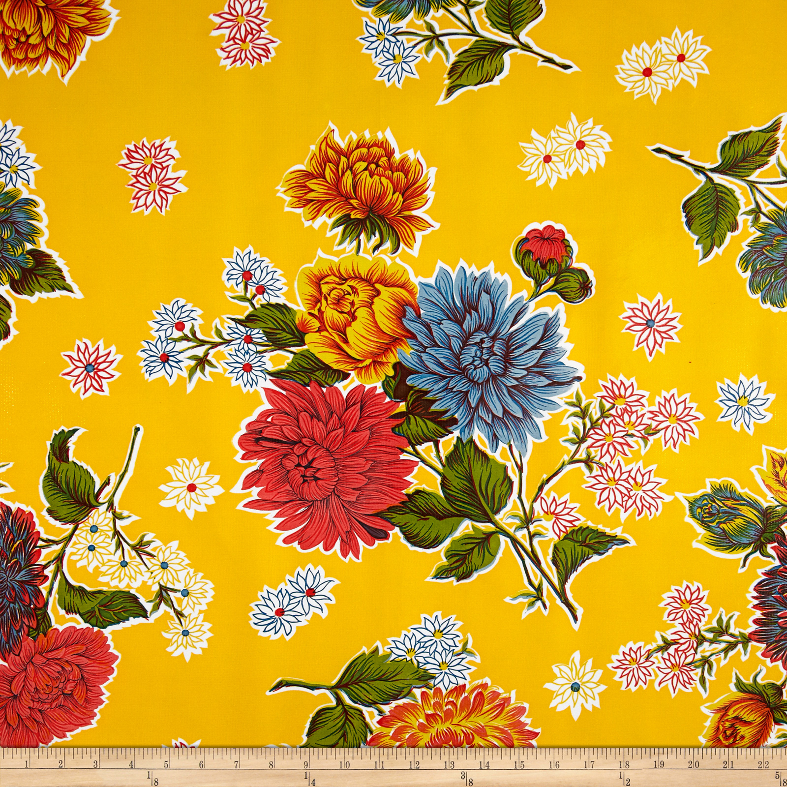 Oilcloth Mums Yellow Fabric by Oilcloth International in USA