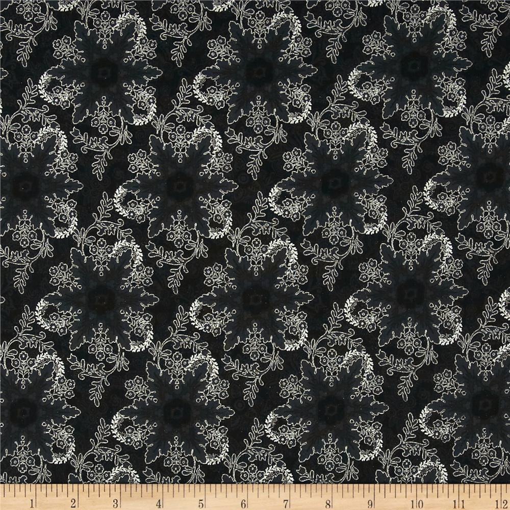 Pear Tree Greetings Metallic Snowflake Black/Silver
