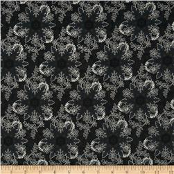 Pear Tree Greetings Metallic Snowflake Black/Silver Fabric