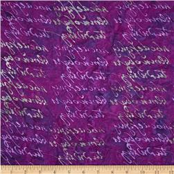 Lonni Rossi Batiks Handwriting Purple Fabric