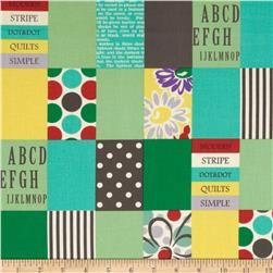 Lecien Spicy Scrap Strip Dot Patch Green