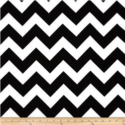 Cotton Spandex Jersey Knit Chevron Jet Black/White