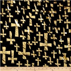 Spandex Lame Knit Crosses Print Black/Gold