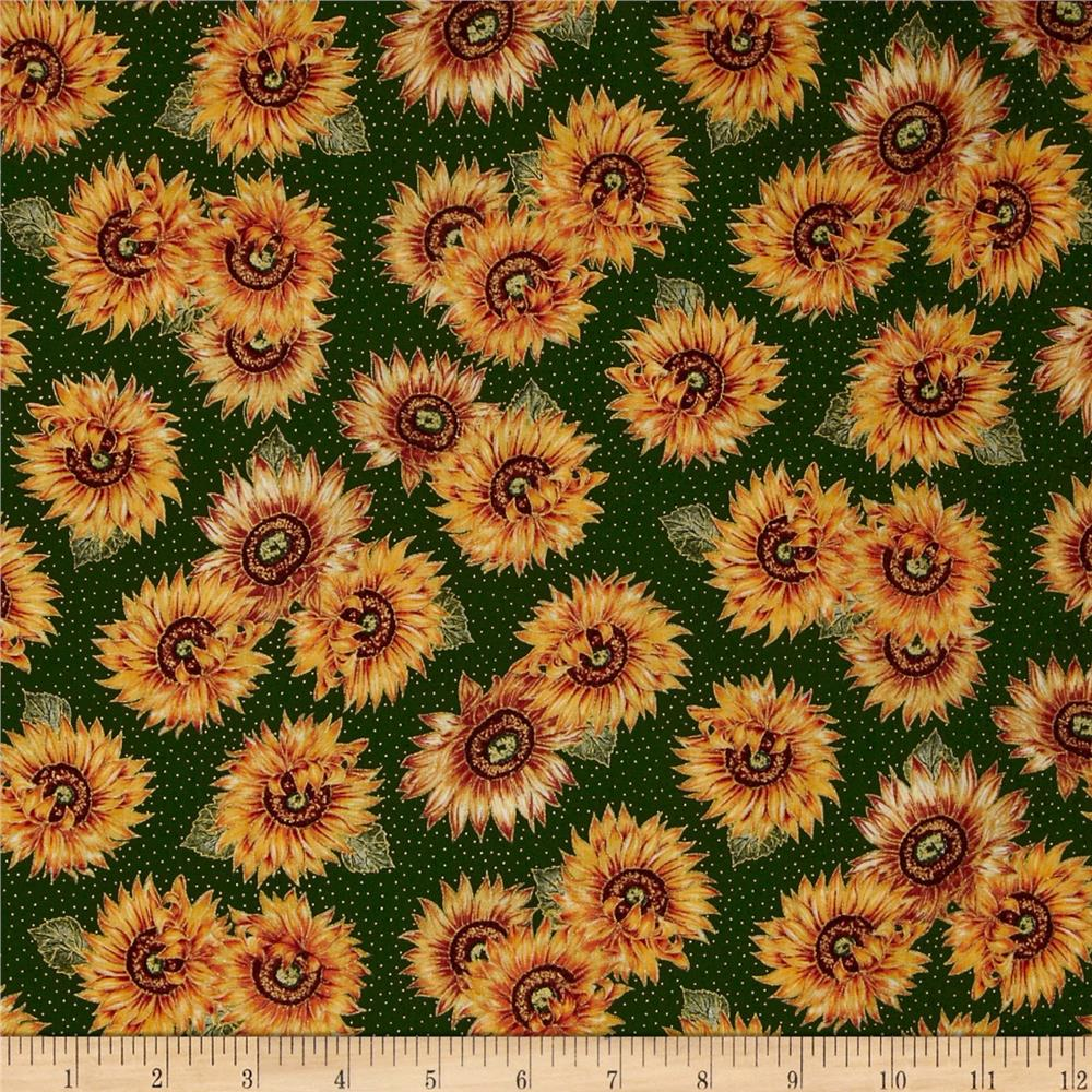 Harvest Medley Sunflowers Forest Green