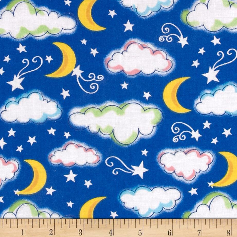 Starry night glitter sky royal discount designer fabric for Night sky print fabric