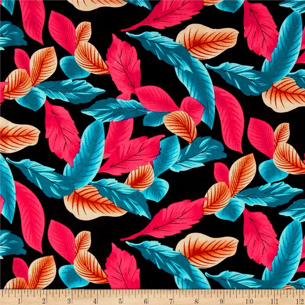 Rayon Challis Dreamer Tropical Leaf Rust/Pink