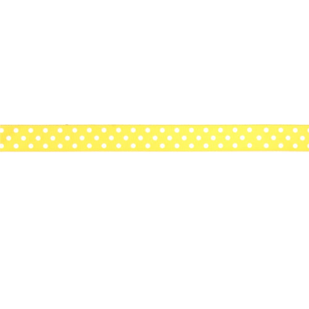 "May Arts 5/8"" Grosgrain Dots Ribbon Spool Yellow/White"