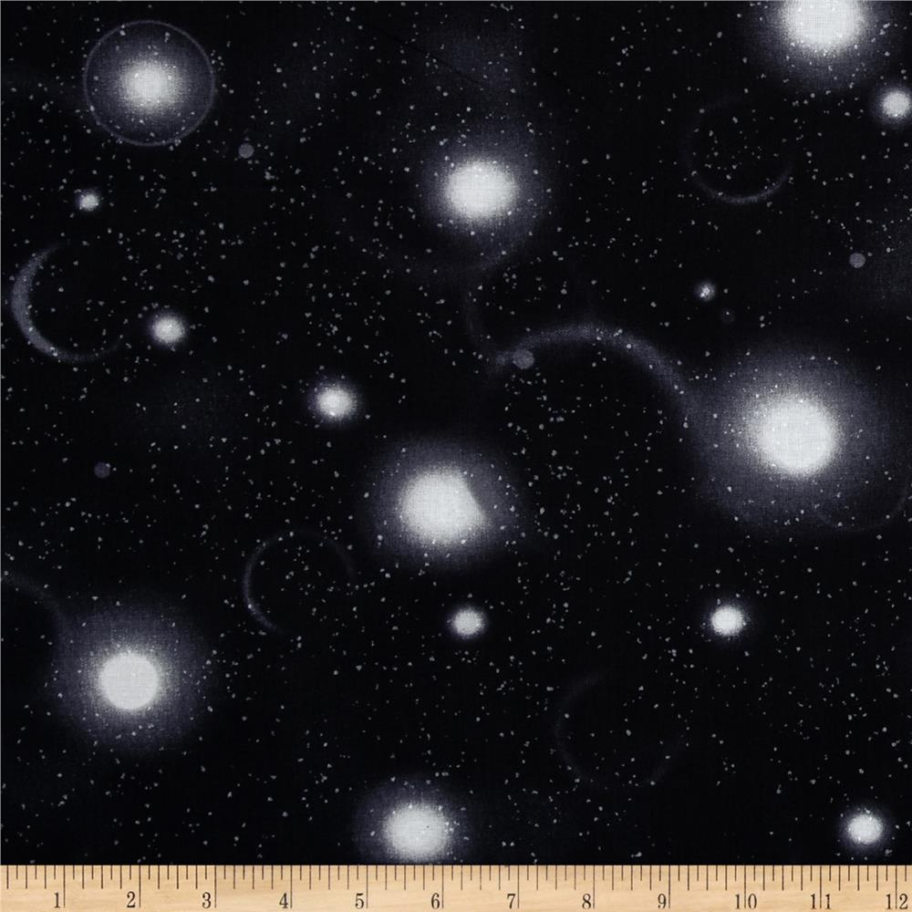 Flying high night sky black discount designer fabric for Night sky print fabric