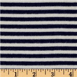Designer Jersey Knit Stripe Reversible Stripe Navy/White