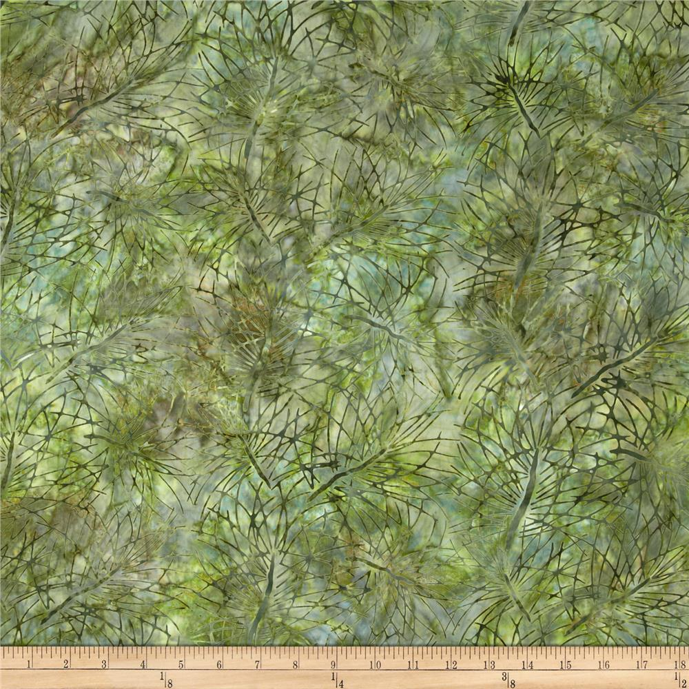 Artisan Batiks Northwoods Leaf Silohette Nature Green