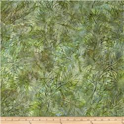 Artisan Batiks Northwoods Leaf Silohette Nature Green Fabric