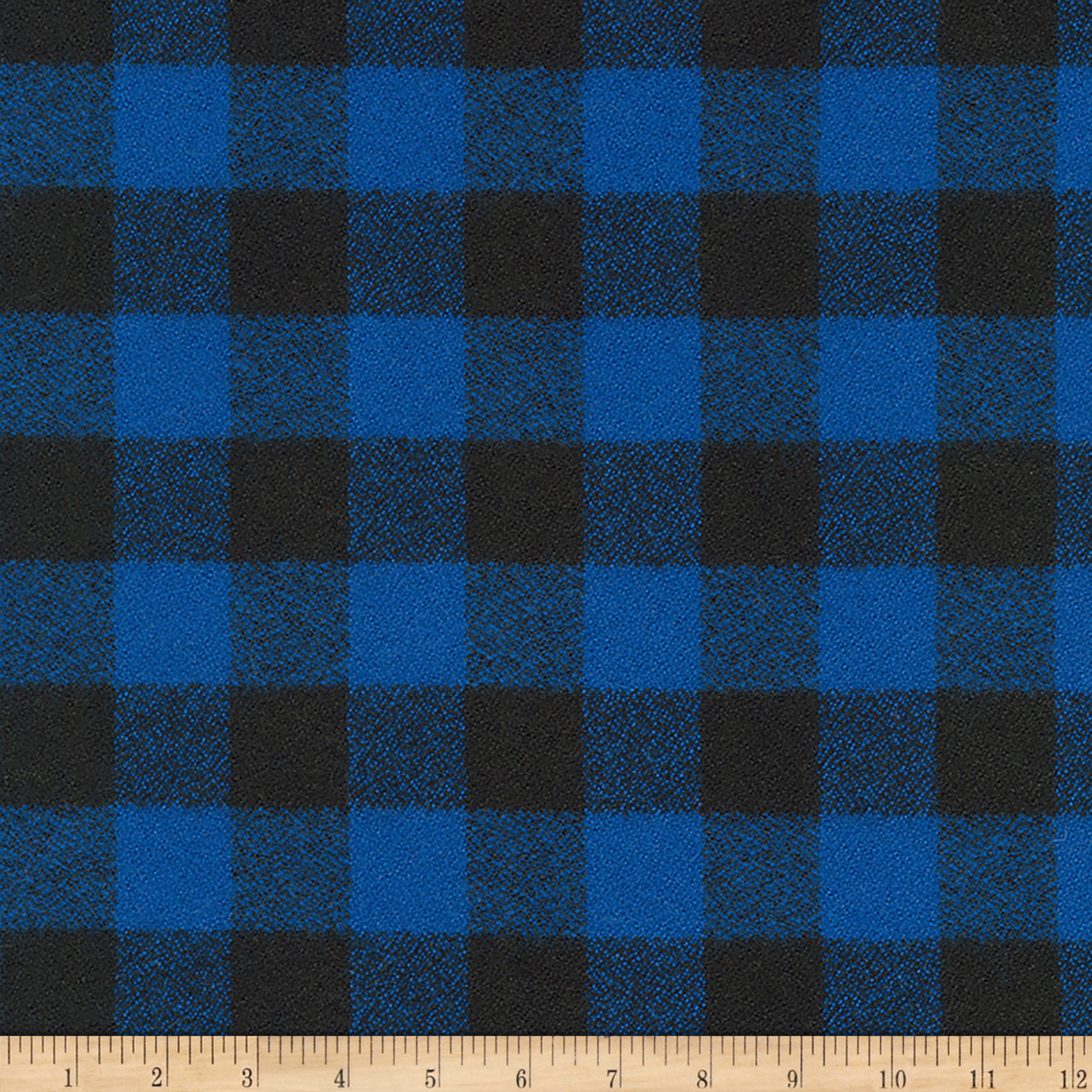 Image of Kaufman Mammoth Flannel Buffalo Check Medium Blue Fabric