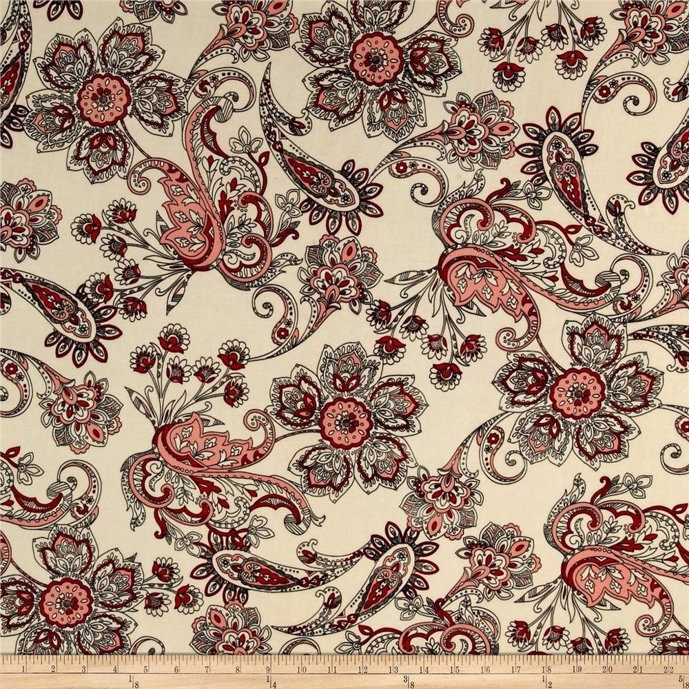 ITY Brushed Jersey Knit Paisley Cream/Red Fabric
