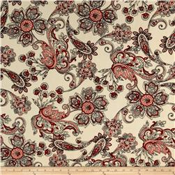 ITY Brushed Jersey Knit Paisley Cream/Red
