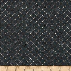Mandalay Metallic Small Diamond Tile Charcoal/Gold
