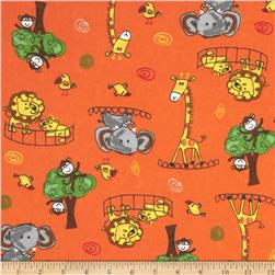 COMBINE Flannel Zoo Animals Orange Fabric