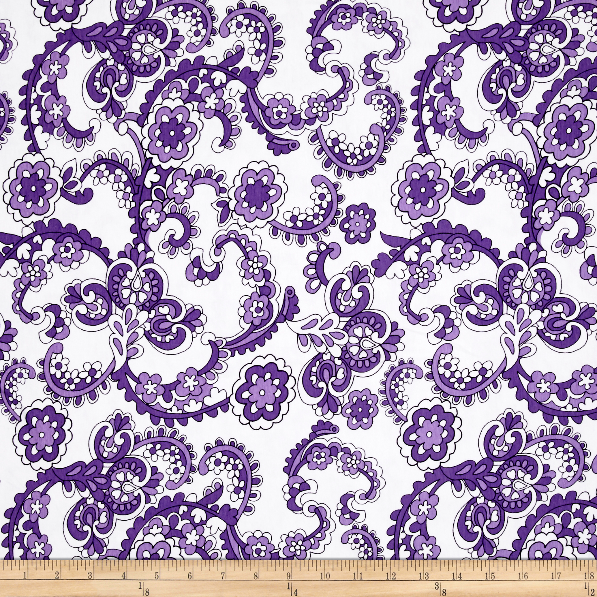 Jersey Knit Floral Paisley Lavender Fabric by E. E. Schenck in USA
