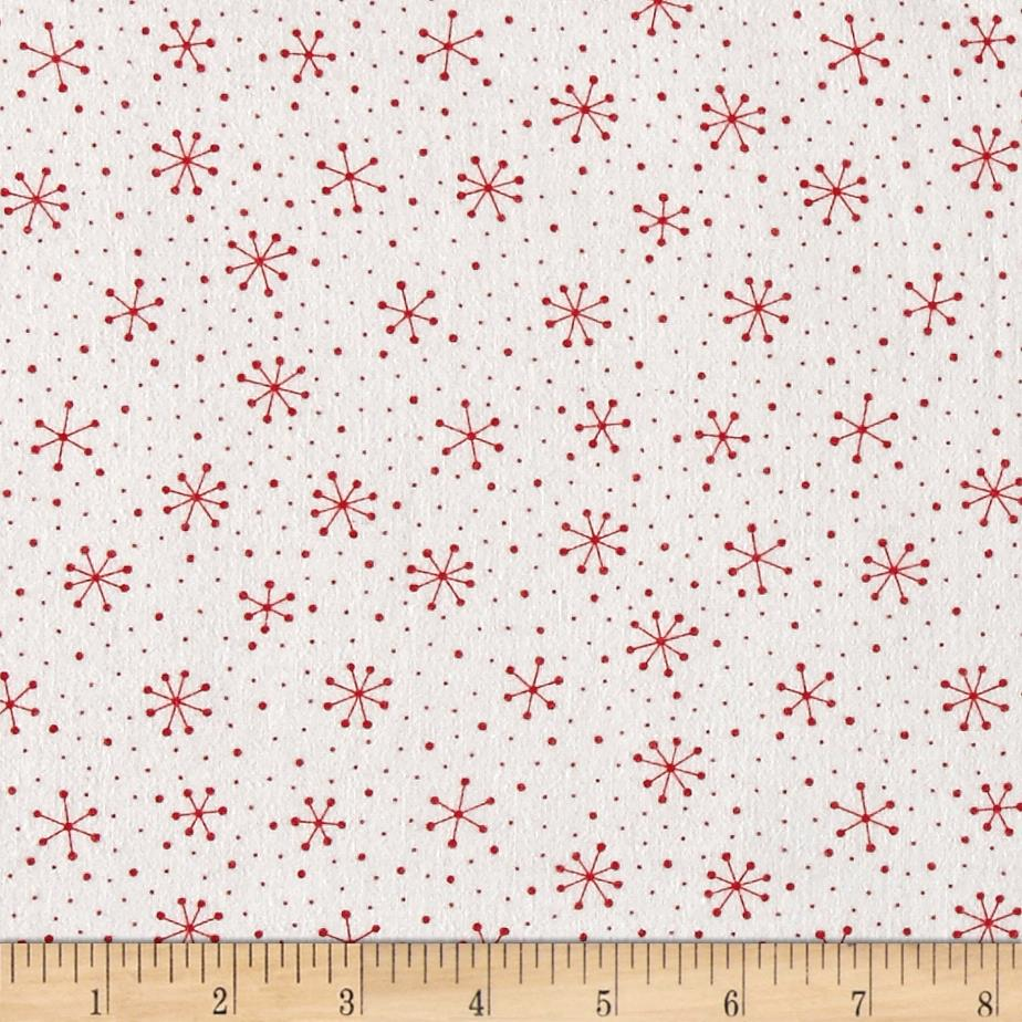 Moda Red Dot Green Dash Brushed Cottons Snowflakes Dots Winterwhite/Red Fabric