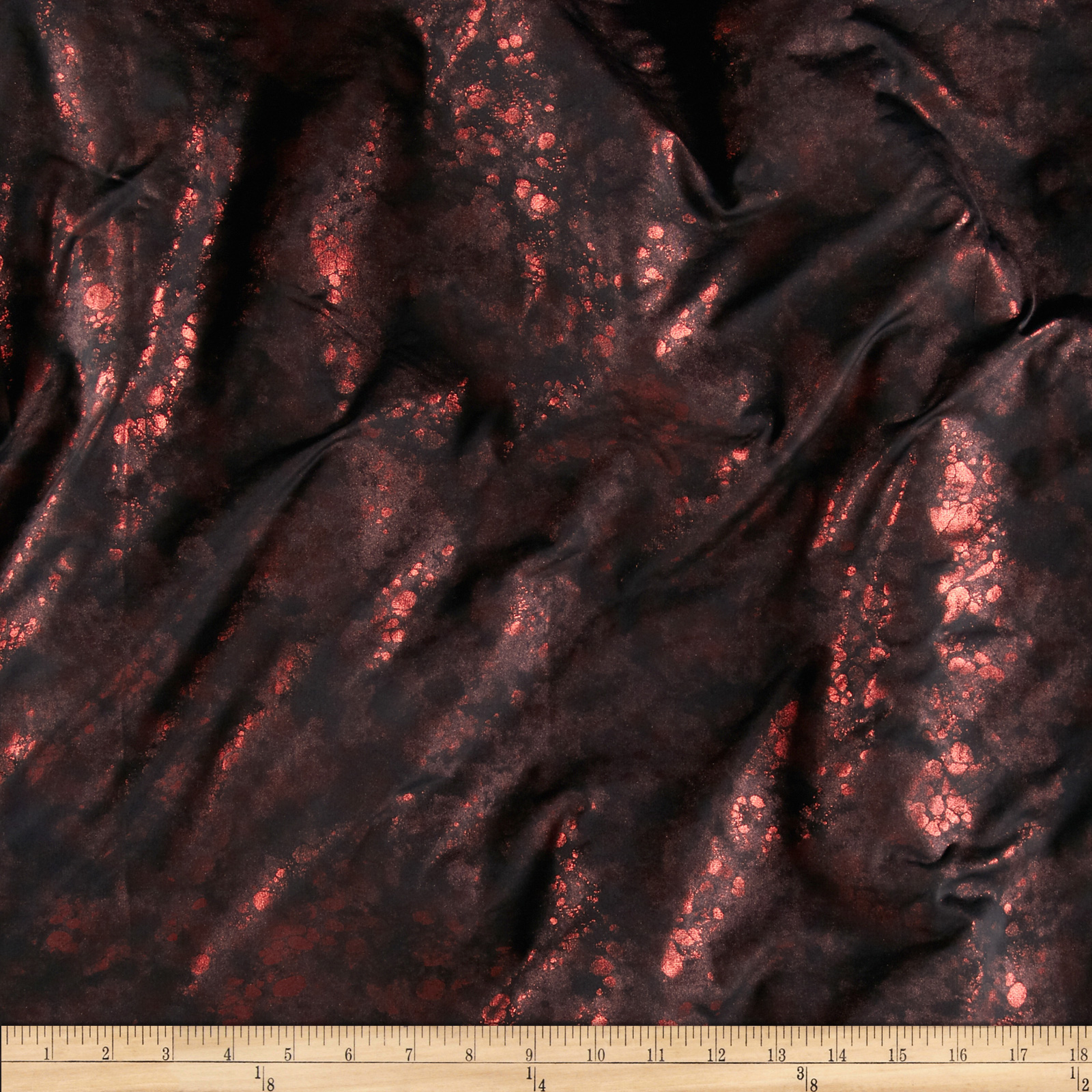Stretch Metallic Novelty Knit Animal Skin Red/Black Fabric