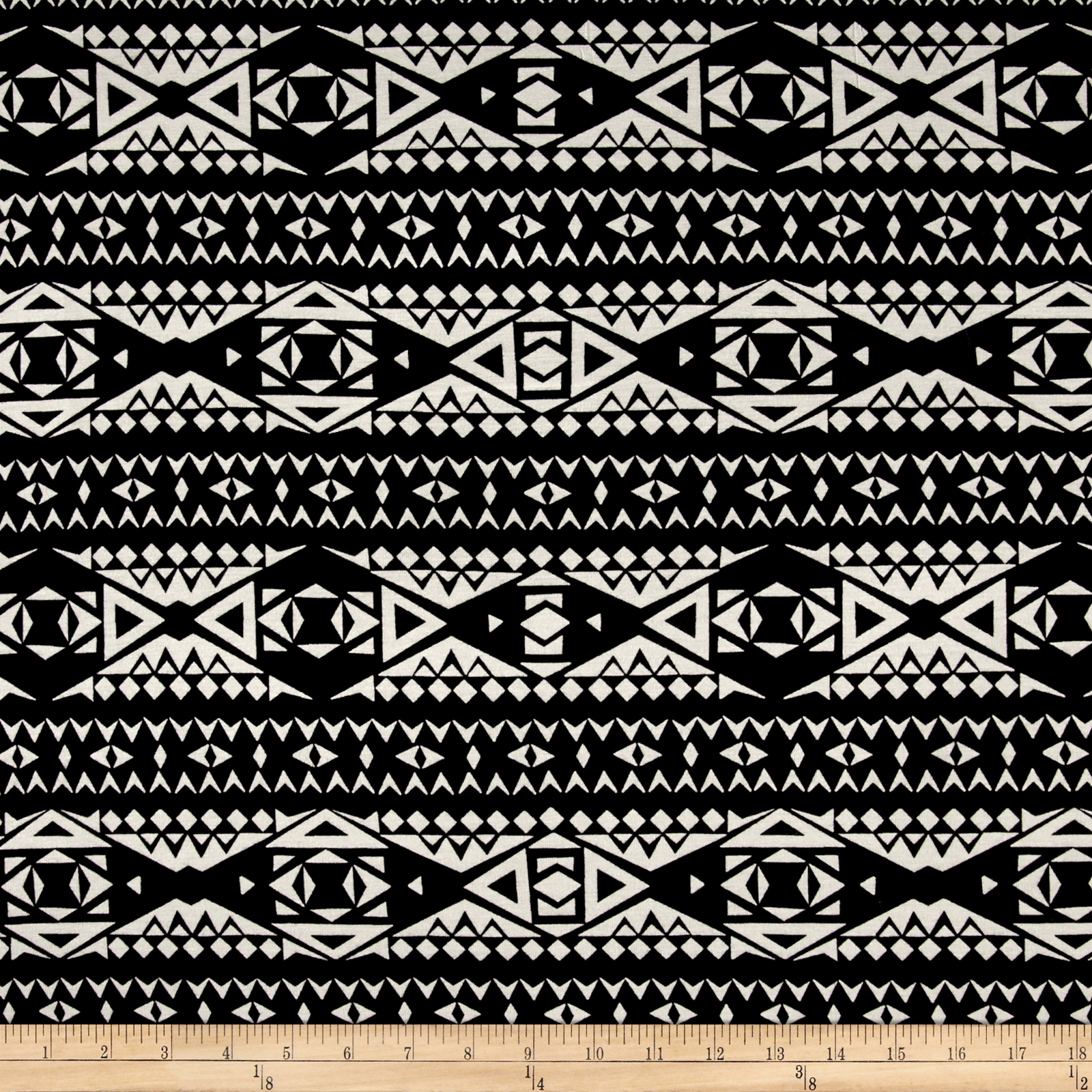 Rayon Jersey Knit Diamond Tribe - Black/white Fabric