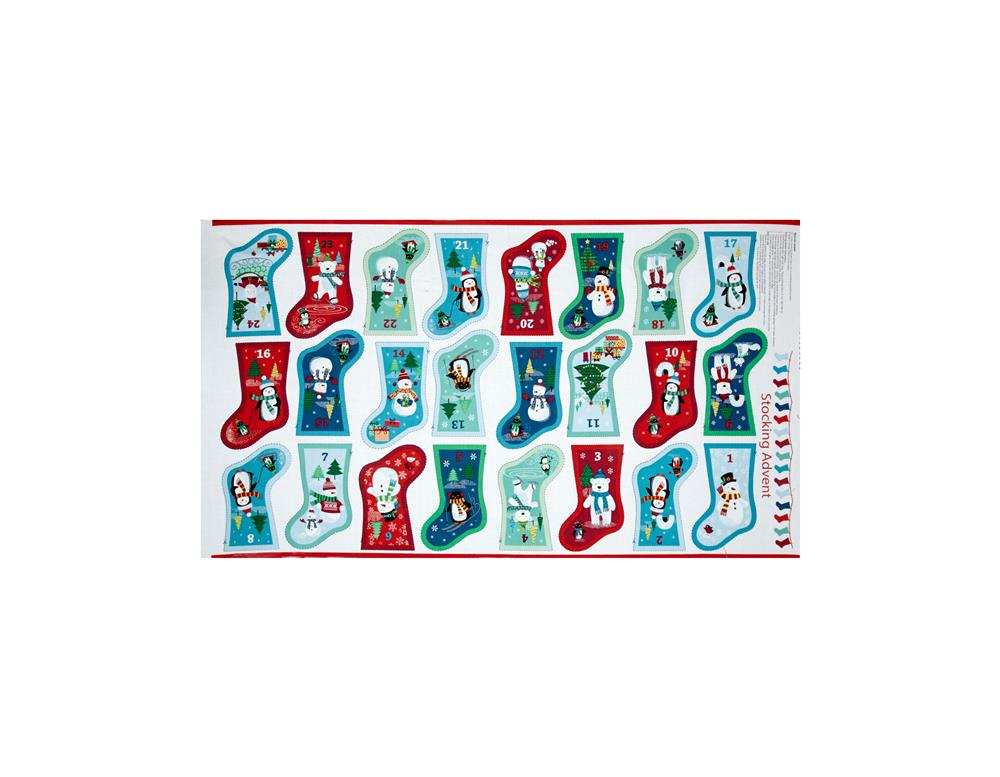 Frosty Stocking Advent Calendar 24'' Panel Multi Fabric By The Yard