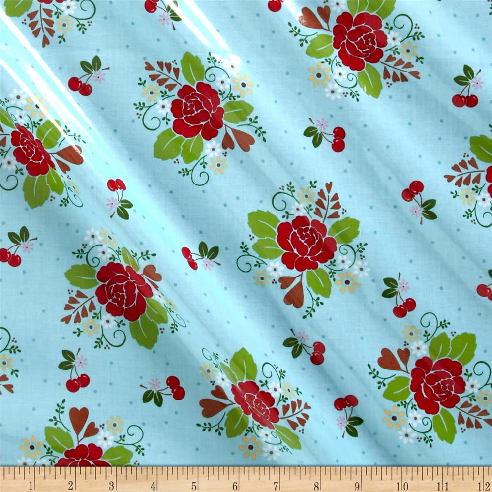 Riley Blake Sew Cherry 2 Laminate Aqua Fabric