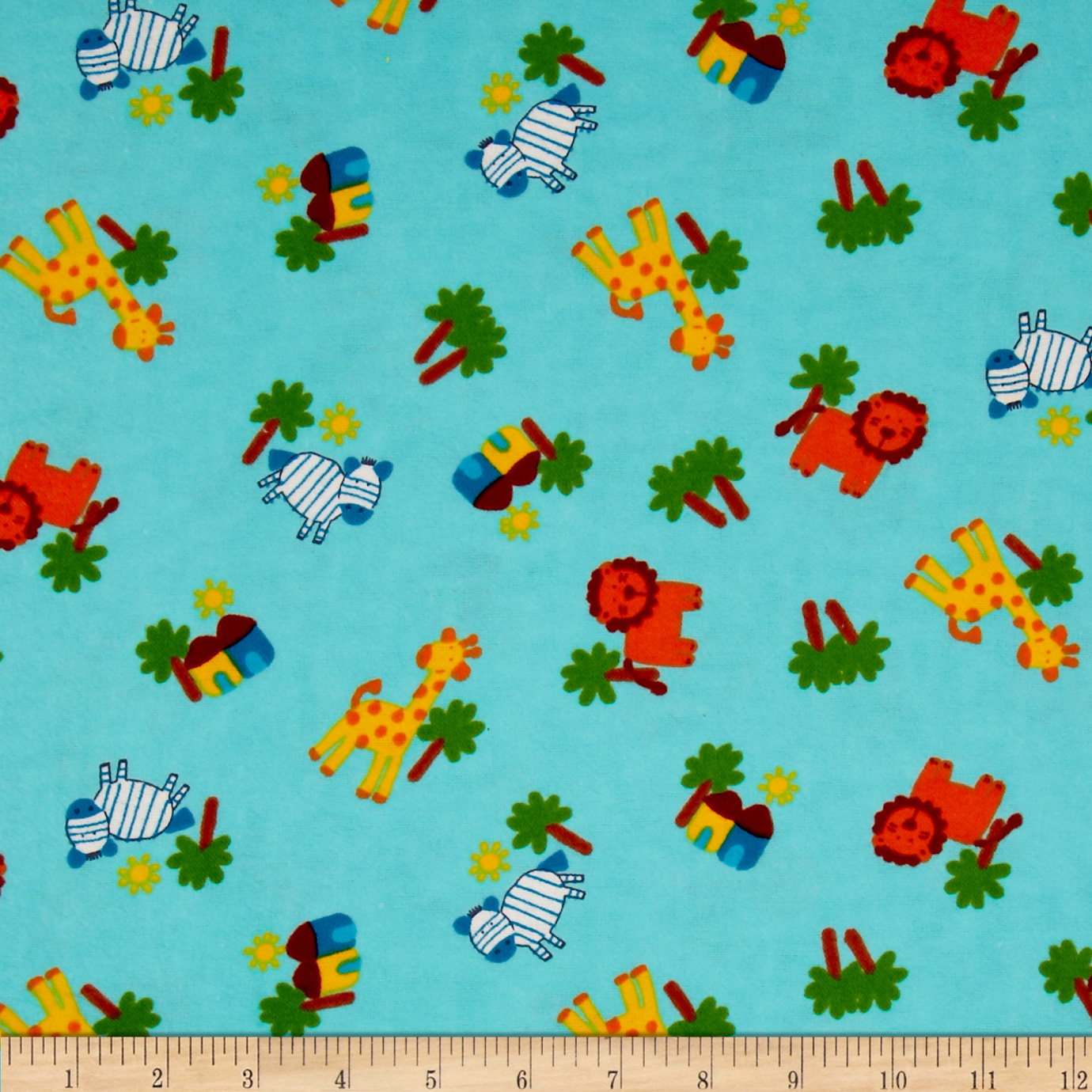 Flannel Novelties Medium Tossed Zoo Animals Aqua Fabric