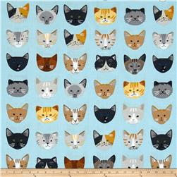 Kaufman Whiskers & Tails Cats In A Row Blue