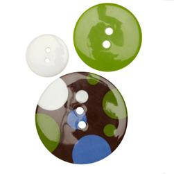 Fashion Buttons 5/8'', 1.00'', 1 3/8''  Coordinates Dot To Dot Green/Brown