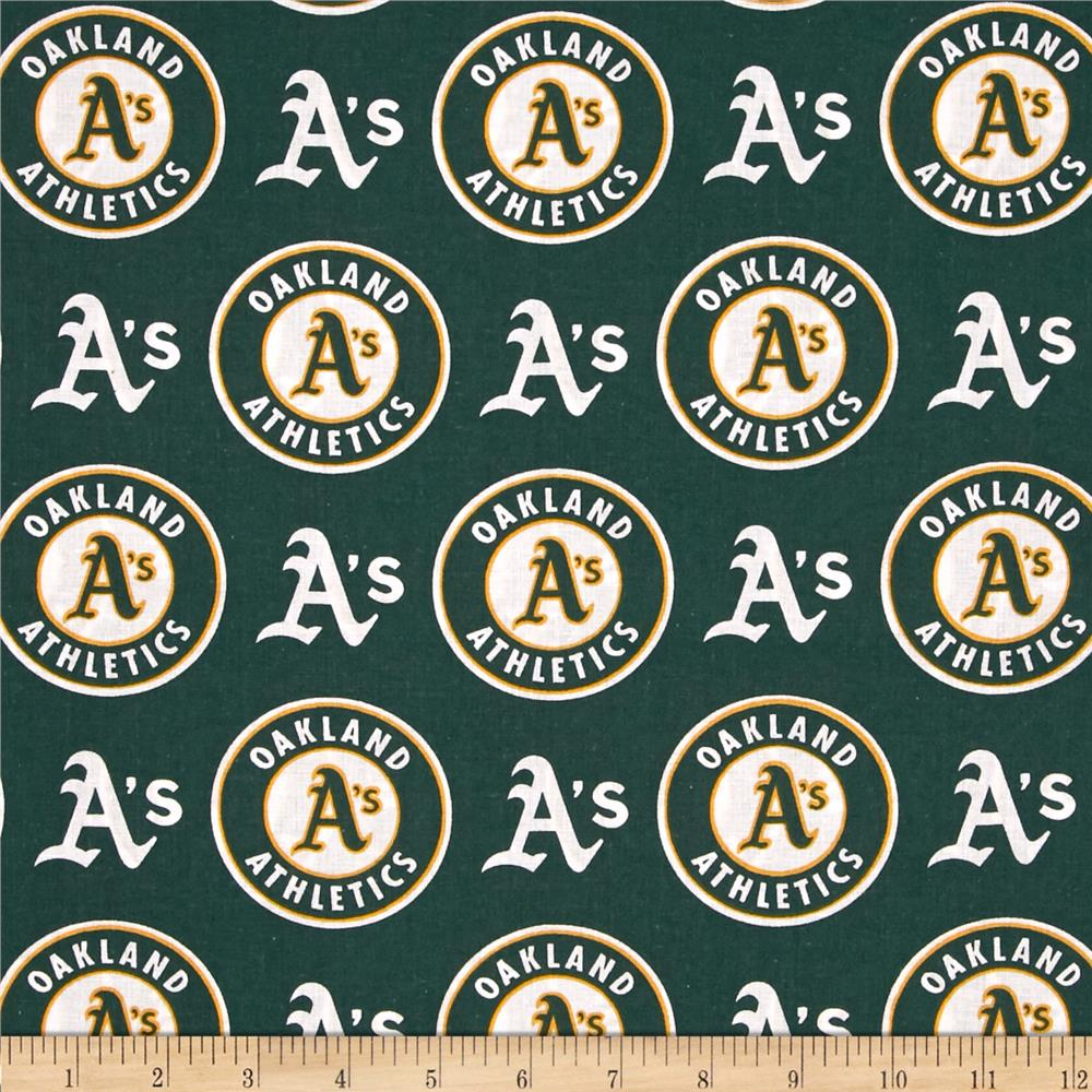 MLB Cotton Broadcloth Oakland Athletics Green/White Fabric By The Yard