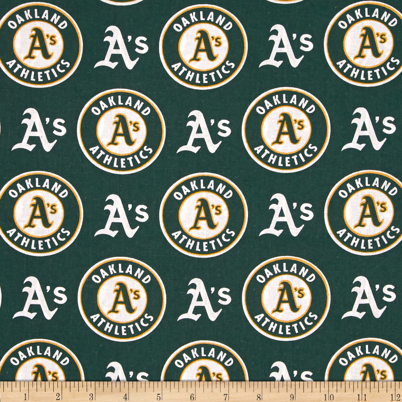 MLB Cotton Broadcloth Oakland Athletics Green/White Fabric by Fabric Traditions in USA