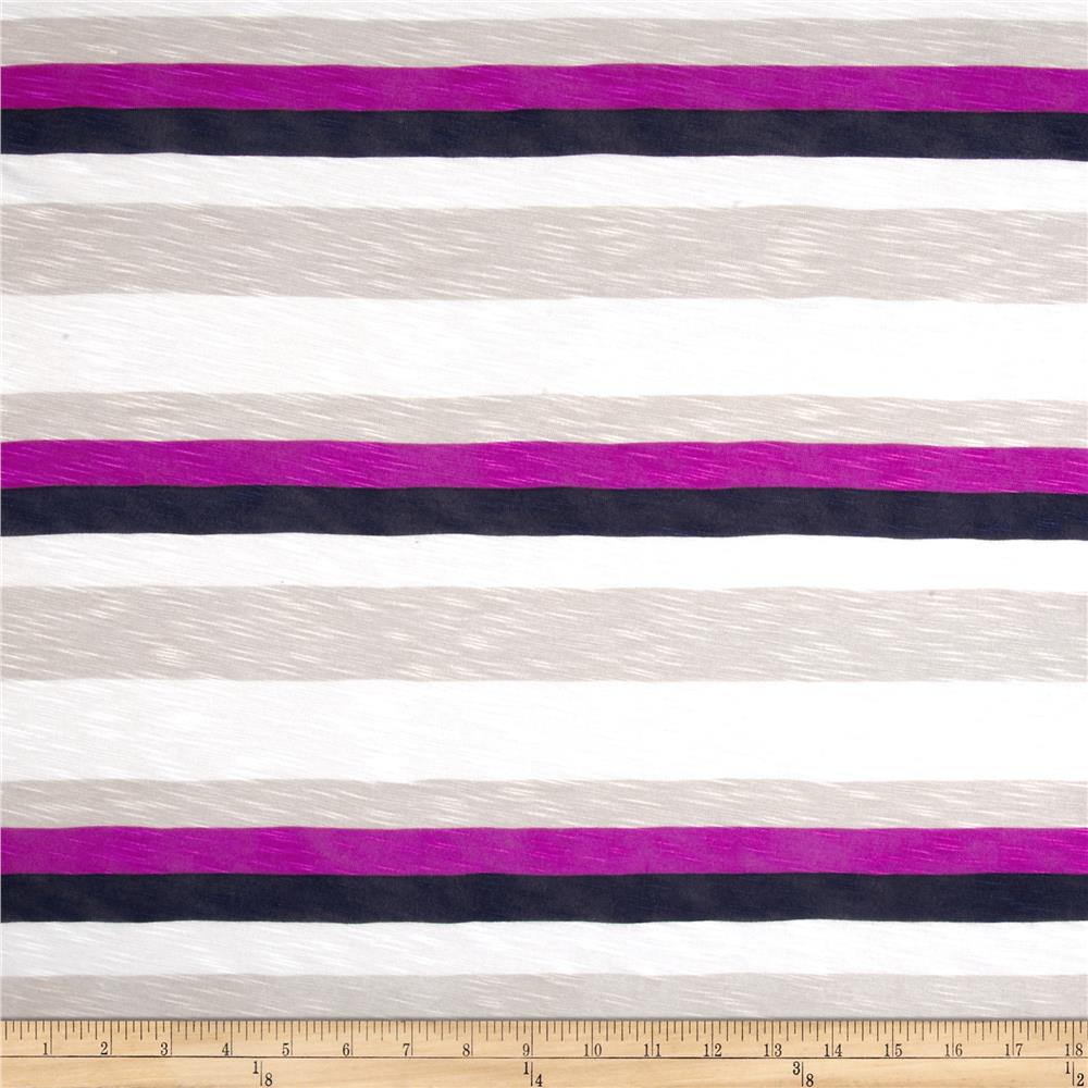 Designer Slub Rayon Jersey Knit Stripes Purple/Blue