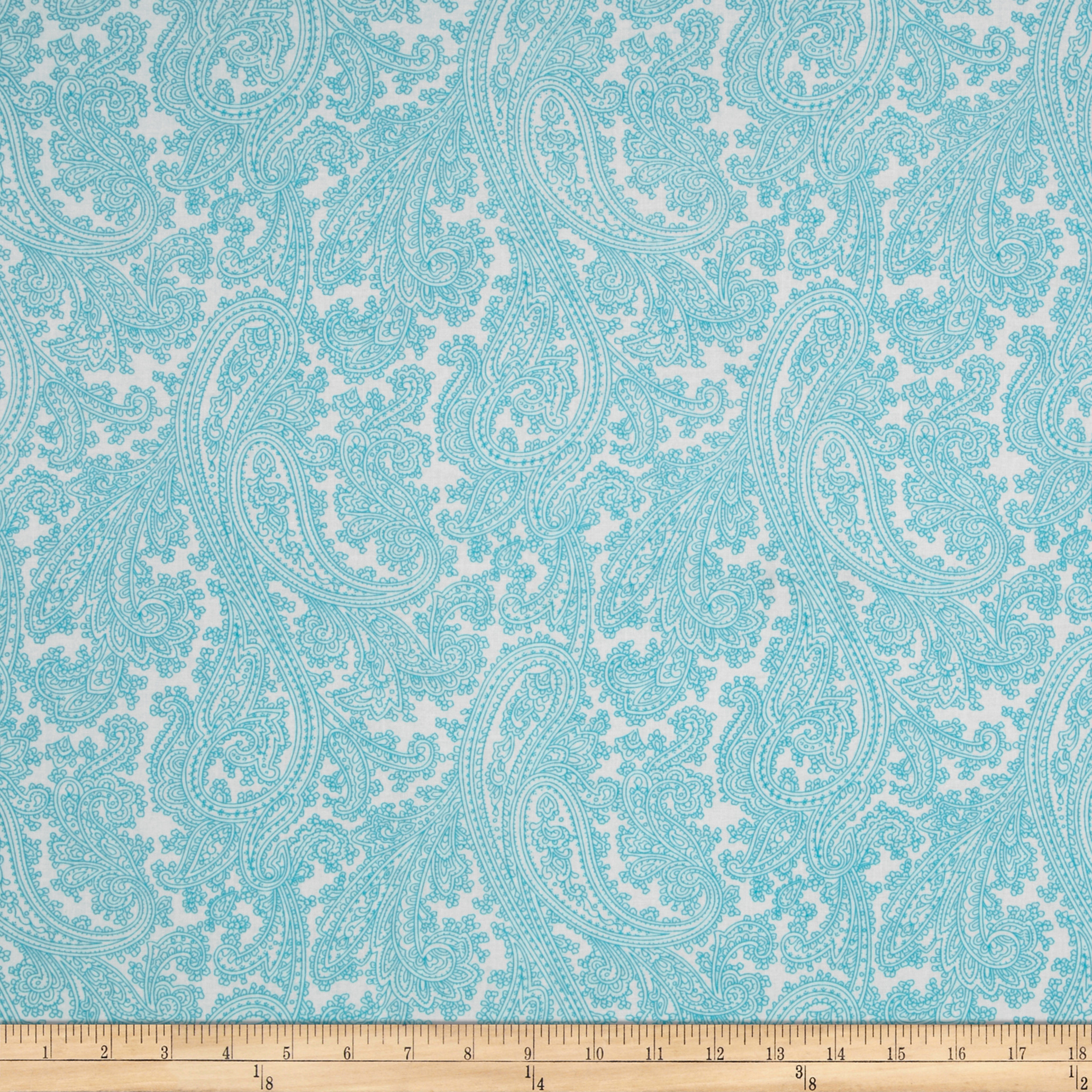 Michael Miller French Journal Posh Paisley Aqua Fabric