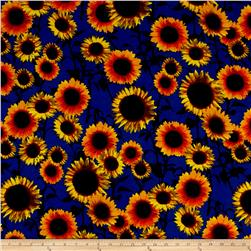 Soft Rayon Jersey Knit Floral Royal/Yellow