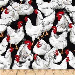 Timeless Treasures Chickens Black