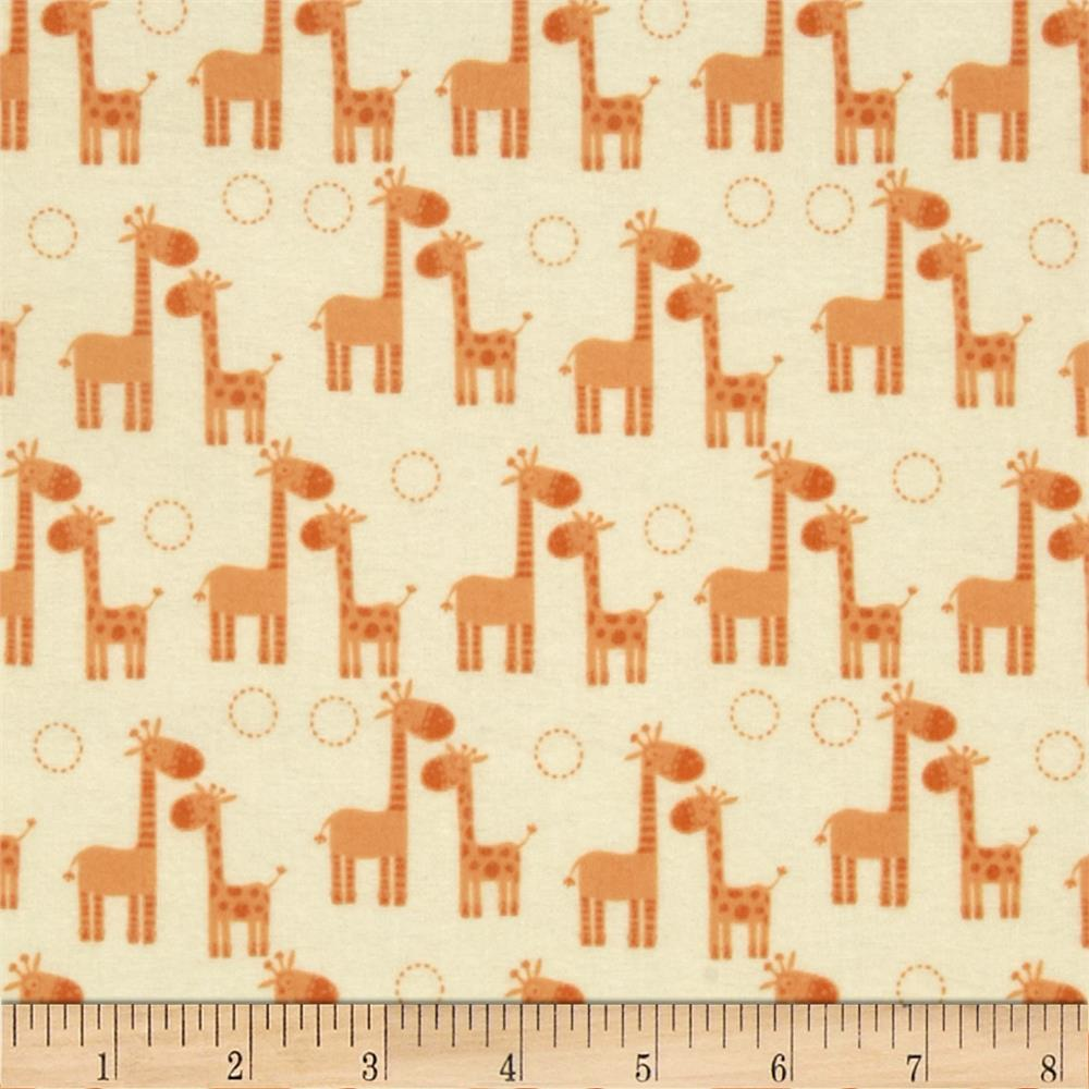 Riley Blake Giraffe Crossing Flannel Giraffe Orange