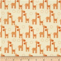 Riley Blake Giraffe Crossing Flannel Giraffe Orange Fabric