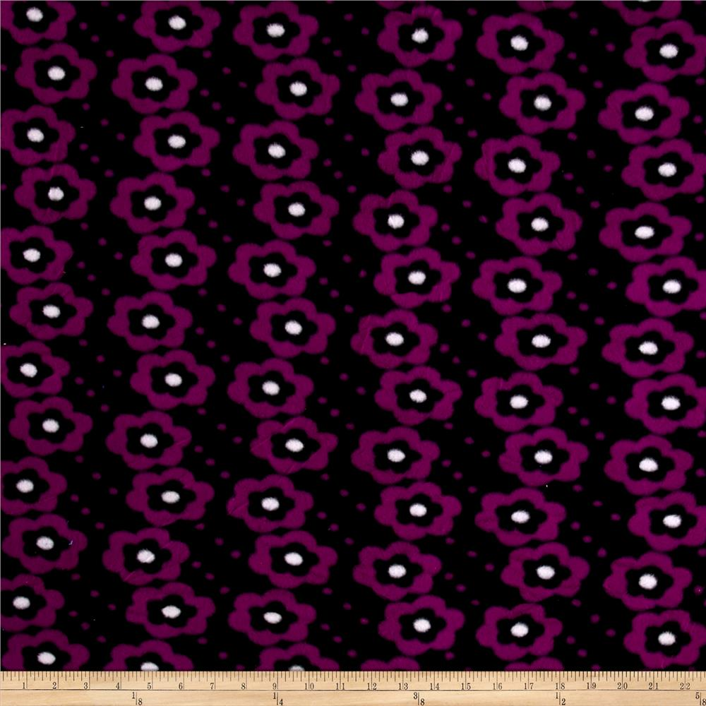 Polar Fleece Flowers Black/Purple Fabric