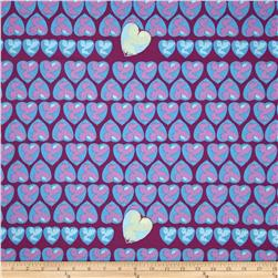 Tina Givens Feather Flock Heart Candy Periwinkle Fabric