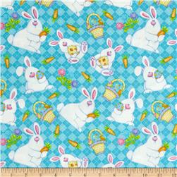 Hippity Hop Bunnies And Baskets Turquoise