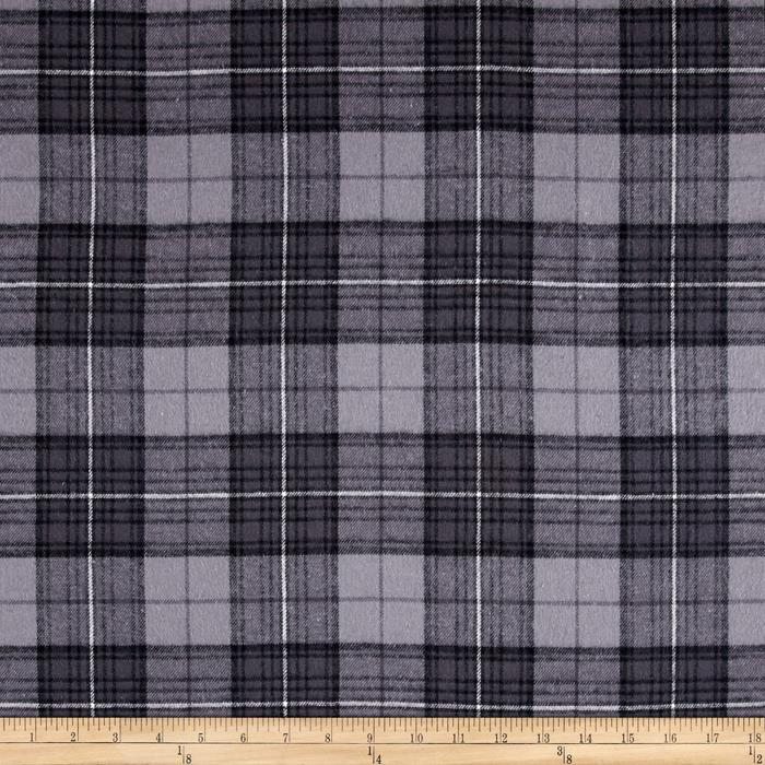 Yarn Dyed Flannel Plaid Grey Fabric