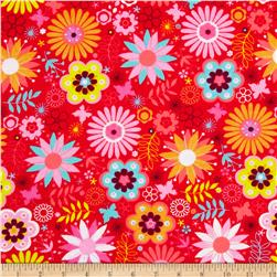 Flannel Tossed Flowers & Butterflies Bright Pink Fabric