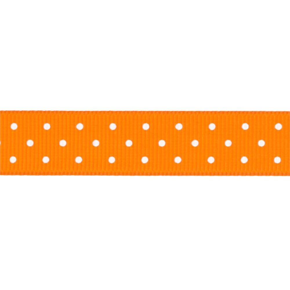 "Riley Blake 5/8"" Grosgrain Ribbon Mini Dot Orange"